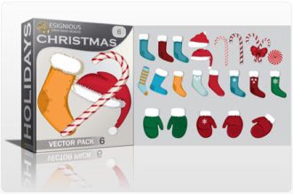 Christmas vector pack 6 Holidays glove