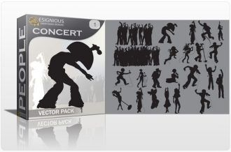 Concert silhouettes vector pack People star
