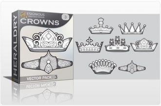 Crowns vector pack 3 Heraldry antiquity