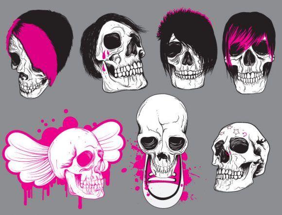 Skulls vector pack 9 Skulls bones