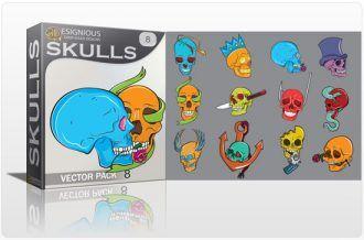 Skulls vector pack 8 Skulls bones