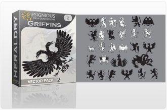 Griffins vector pack 2 Heraldry heraldic