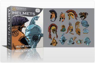 Helmets vector pack Heraldry retro