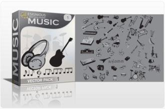 Music vector pack Music mic