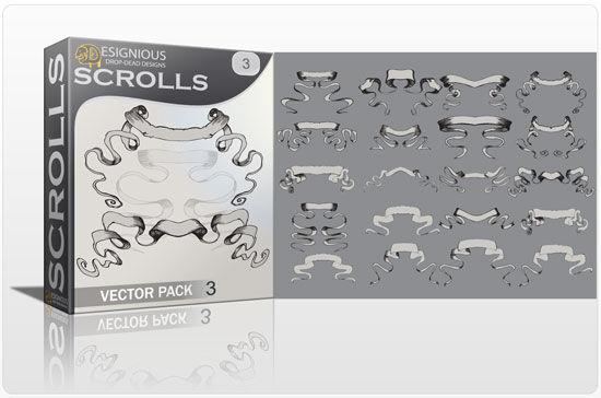 Scrolls vector pack 3 Scrolls ribbon