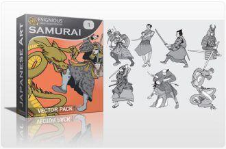 Samurai vector pack 1 Japanese Art silhouette