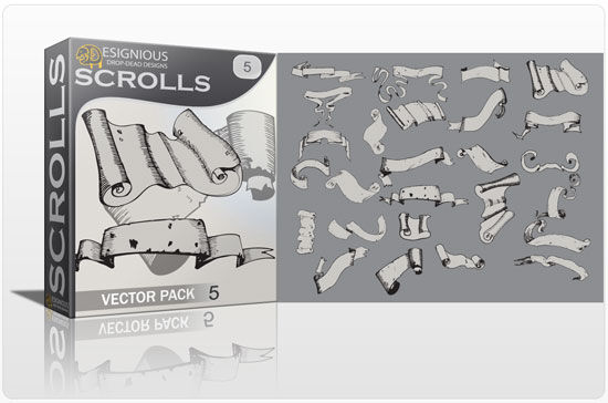 Scrolls vector pack 5 Scrolls ribbon