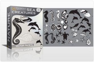 Sea creatures vector pack Nature ocean