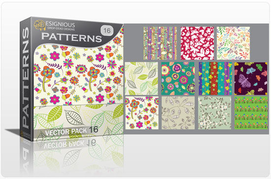 Seamless patterns vector pack 16 Vector Patterns leaf