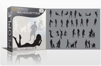 Silhouettes vector pack People female