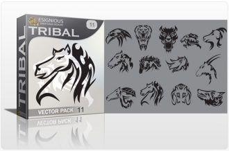 Tribal vector pack 11 animals Tribal vector