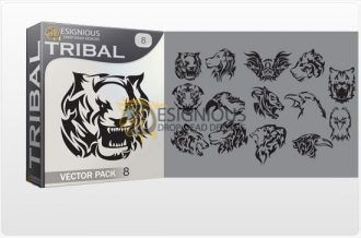 Tribal vector pack 8 animals Tribal vector