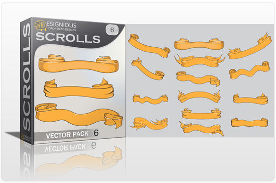 Scrolls vector pack 6 Scrolls ribbon