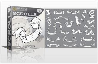 Scrolls vector pack 9 Scrolls ribbon
