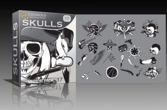 Skulls vector pack 17 Skulls award
