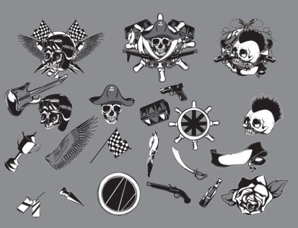Skulls vector pack 17 Skulls award