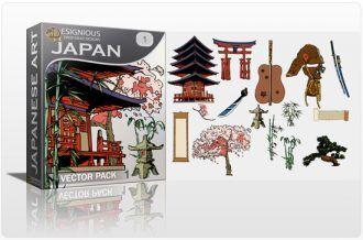 Japan vector pack Japanese Art tree