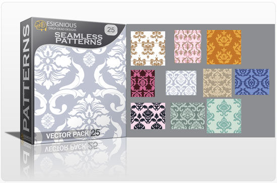 Seamless patterns vector pack 25 Vector Patterns victorian