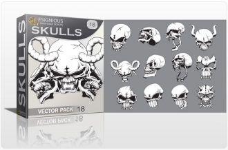 Skulls vector pack 18 Skulls bones