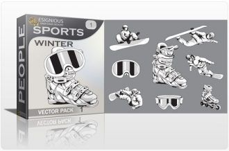 Sports winter vector pack 1 People winter