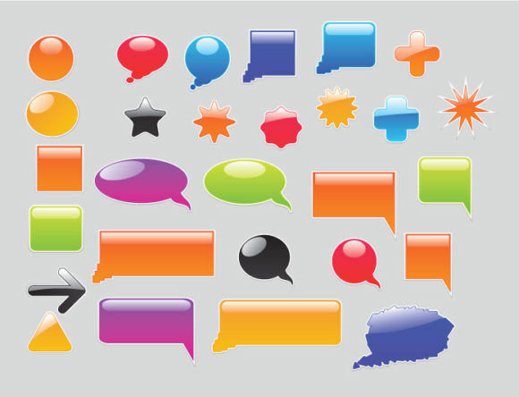 Stickers vector pack 5 Stamps and stickers [tag]