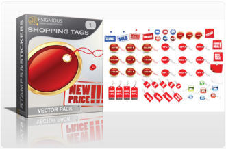 Shopping tags vector pack Stamps and stickers [tag]