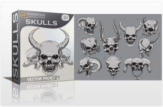 Skulls vector pack 21 Skulls vector