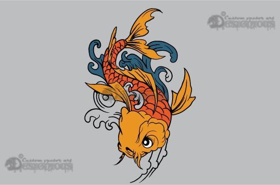 Koi fish vector pack Japanese Art wave