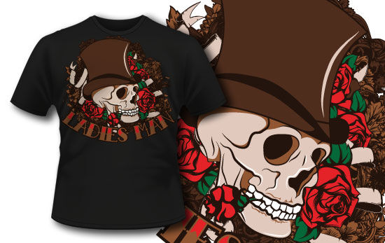 T-shirt design 284 – Skull and Roses T-shirt Designs and Templates vector