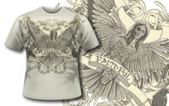 T-shirt design 296 – Dark Seraphim T-shirt Designs and Templates vector