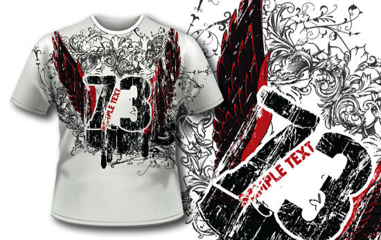 T-shirt design 298  – Grungy text and wings T-shirt Designs and Templates vector