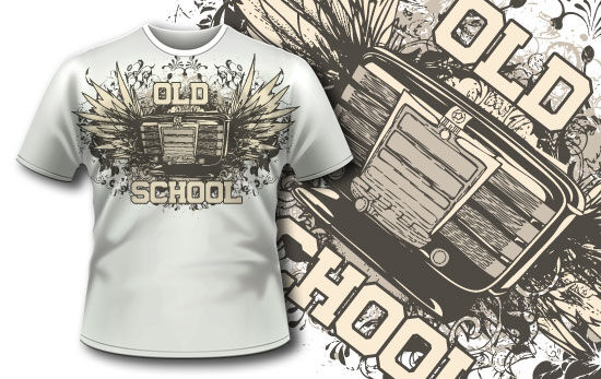 T-shirt design 309 – Jukebox and Wings T-shirt Designs and Templates vector