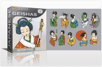 Geishas Vector Pack 2 Japanese Art [tag]