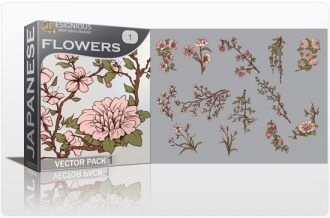 Japanese Flowers Vector Pack 1 Japanese Art [tag]