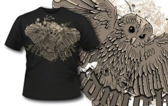 T-shirt design 320 – Flying Owl T-shirt Designs and Templates vector
