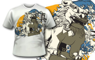 T-shirt design 322 – Foo Lion and Kanji T-shirt Designs and Templates wave