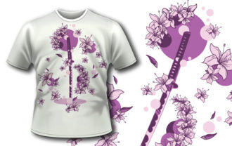T-shirt  design 326 – Katana and Flowers T-shirt Designs and Templates vector