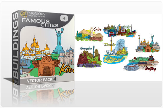 Famous Cities Vector Pack 4 Buildings [tag]