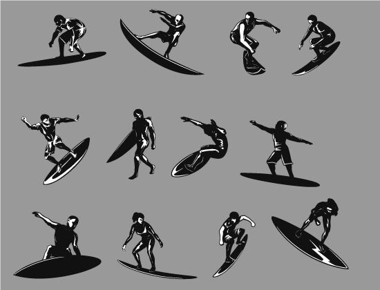 Surfers Vector Pack 2 People summer