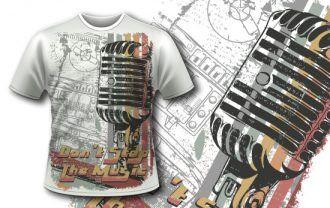 Free T-shirt design 353 – Retro Microphone Freebies DERAJ