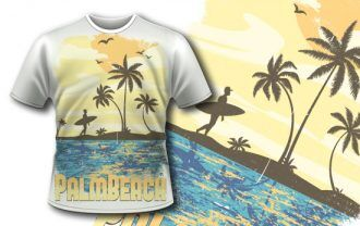 T-shirt design 355 – Surfer on Beach T-shirt Designs and Templates palm tree