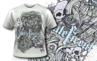 T-shirt design 367 – Skulls and Swirls T-shirt Designs and Templates vector