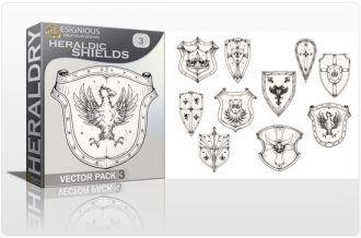 Shields Vector Pack 3 – Heraldic Shields Heraldry shield