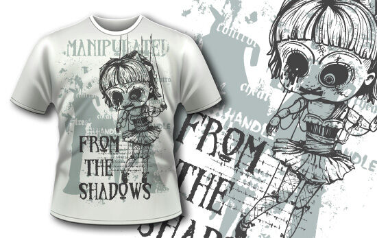 T-shirt design 375 – Old Puppet T-shirt Designs and Templates vector