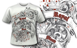 T-shirt design 380 – Engraved Flower T-shirt Designs and Templates vector