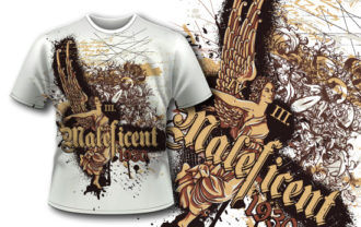 T-shirt design 386 – Vintage Angel T-shirt Designs and Templates vector