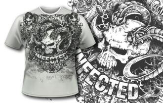 T-shirt design 396 – Demon Skull T-shirt Designs and Templates vector