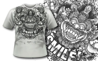 T-shirt design 398 – Bali Demon and Flowers T-shirt Designs and Templates vector