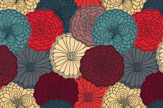 Seamless Patterns Vector Pack 60 – Floral Chaos Vector Patterns [tag]