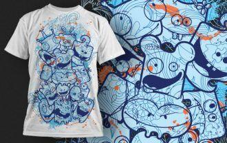 Free Cute Monsters T-shirt Design 430 Freebies kids